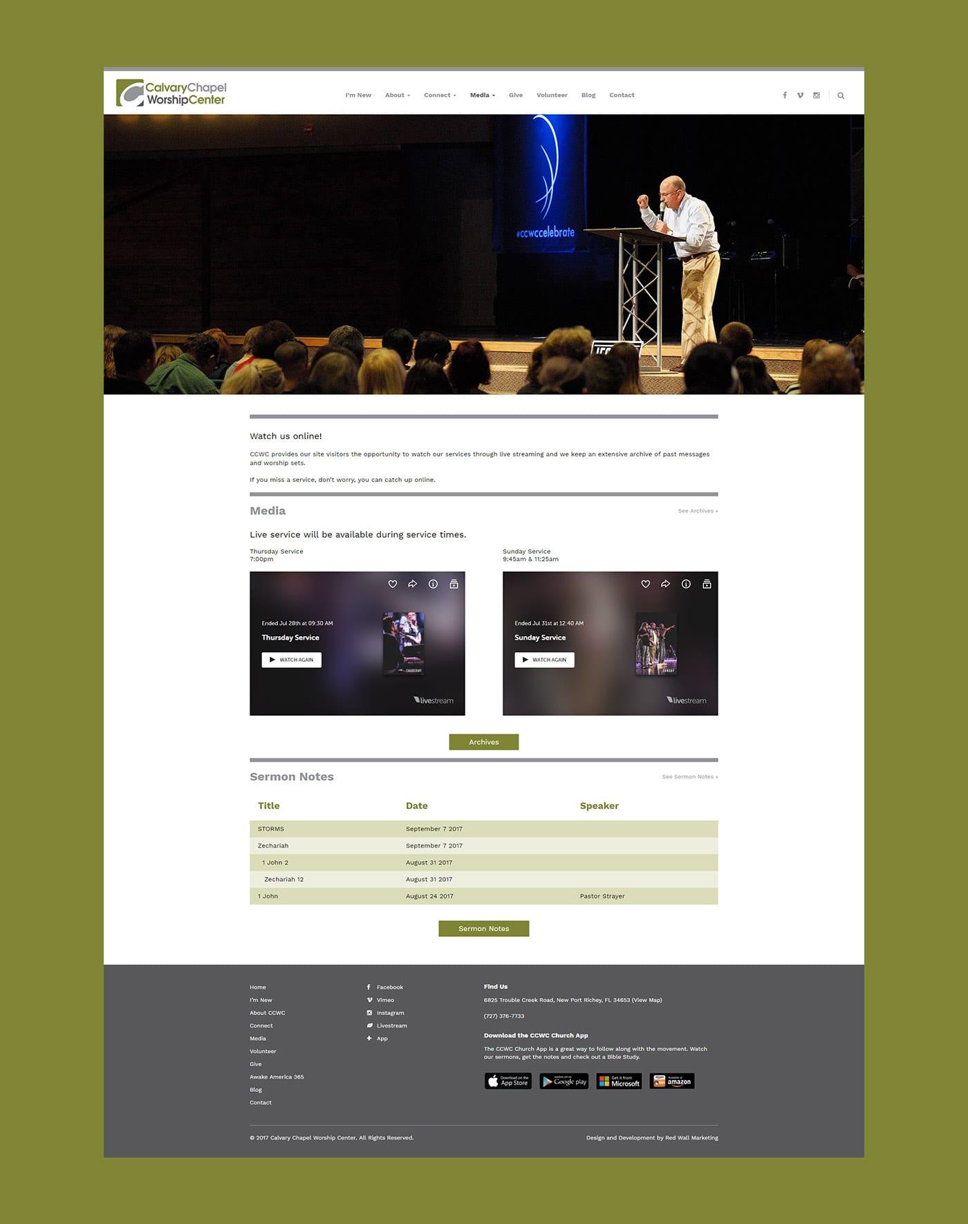 Calvary Chapel Worship Center Web Design